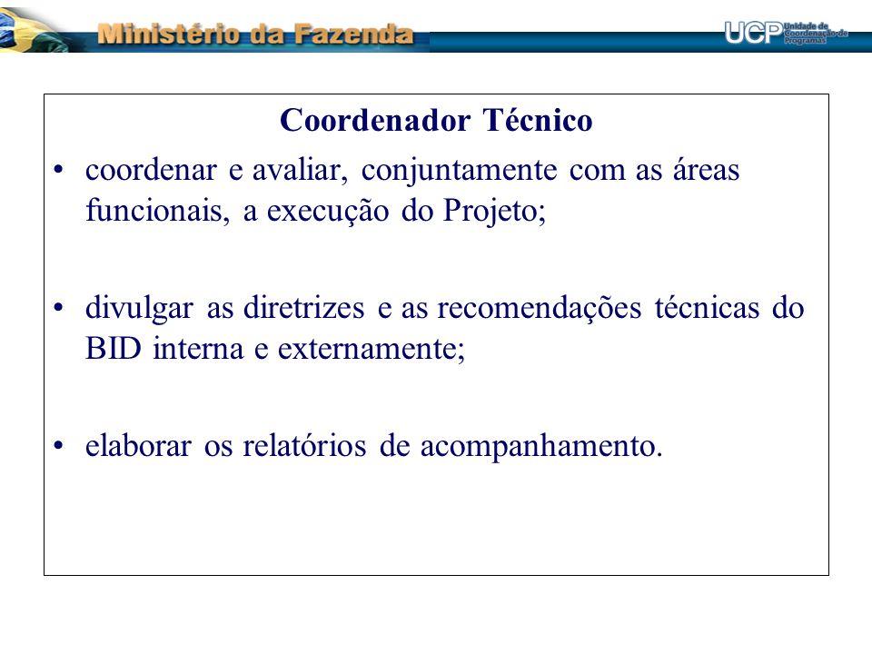 Coordenador Técnico coordenar e avaliar, conjuntamente com as áreas funcionais, a execução do Projeto;