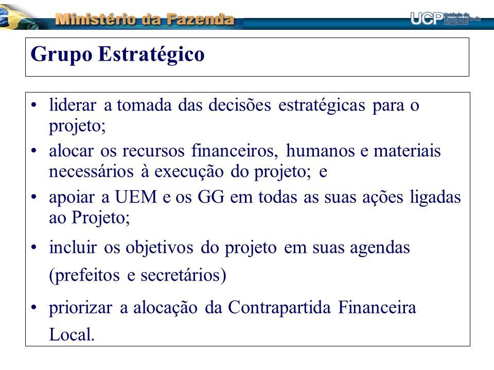 Grupo Estratégico liderar a tomada das decisões estratégicas para o projeto;