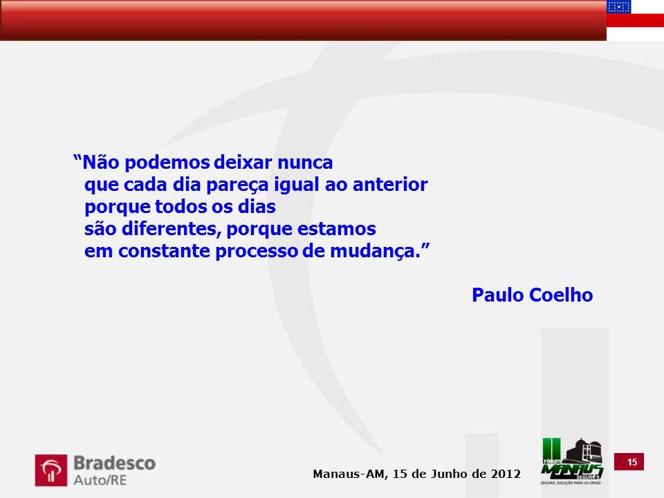 Não podemos deixar nunca que cada dia pareça igual ao anterior porque todos os dias são diferentes, porque estamos em constante processo de mudança. Paulo Coelho