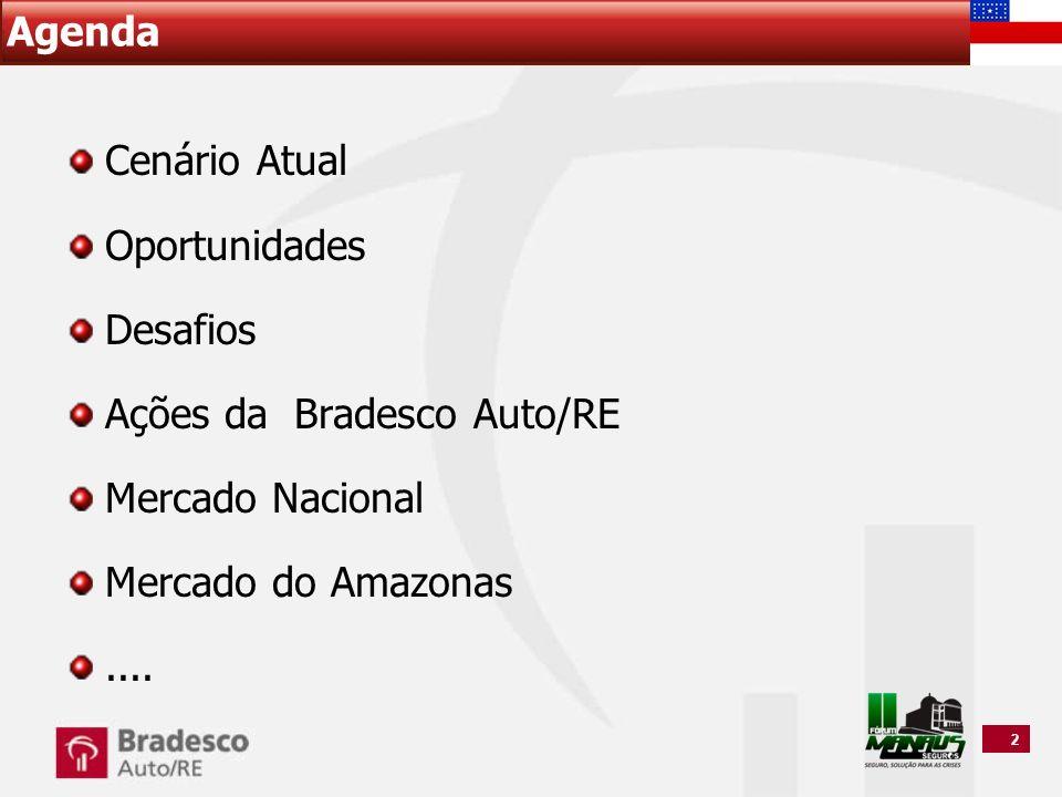 AgendaCenário Atual. Oportunidades. Desafios. Ações da Bradesco Auto/RE. Mercado Nacional. Mercado do Amazonas.