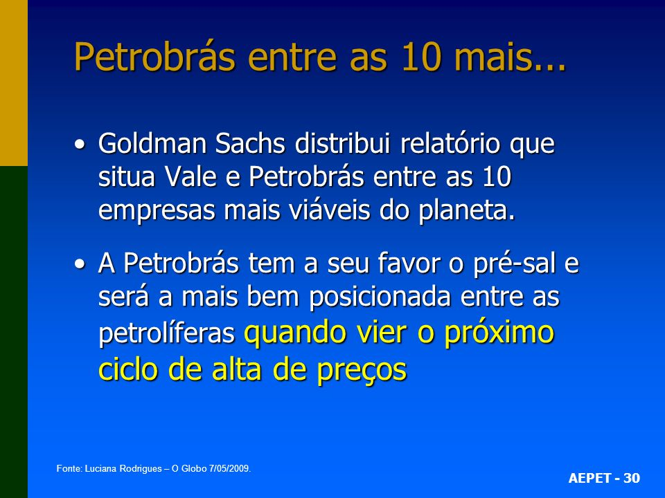 Petrobrás entre as 10 mais...