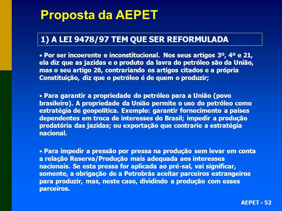 Proposta da AEPET 1) A LEI 9478/97 TEM QUE SER REFORMULADA