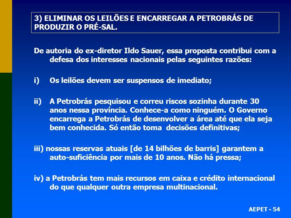 3) ELIMINAR OS LEILÕES E ENCARREGAR A PETROBRÁS DE PRODUZIR O PRÉ-SAL.