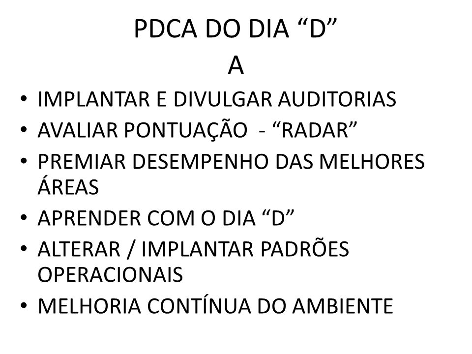 PDCA DO DIA D A IMPLANTAR E DIVULGAR AUDITORIAS