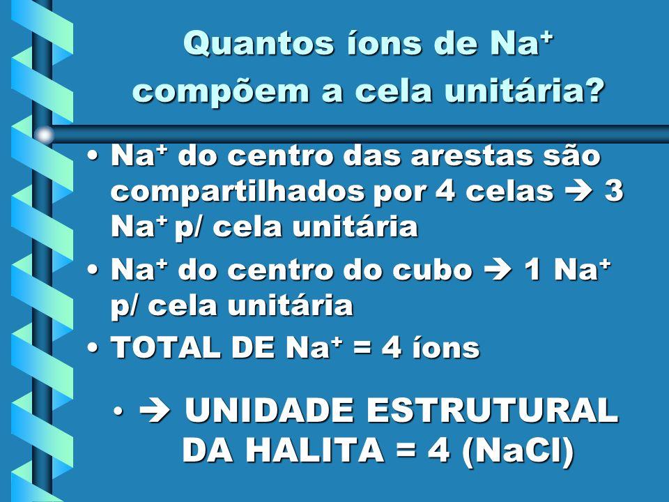 Quantos íons de Na+ compõem a cela unitária