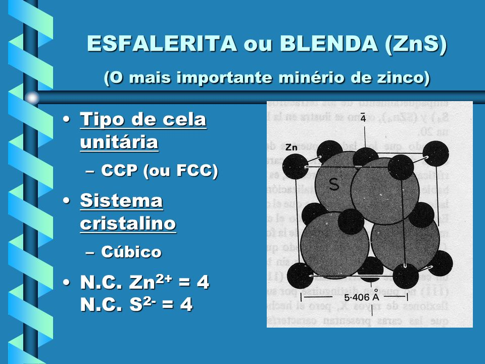 ESFALERITA ou BLENDA (ZnS) (O mais importante minério de zinco)