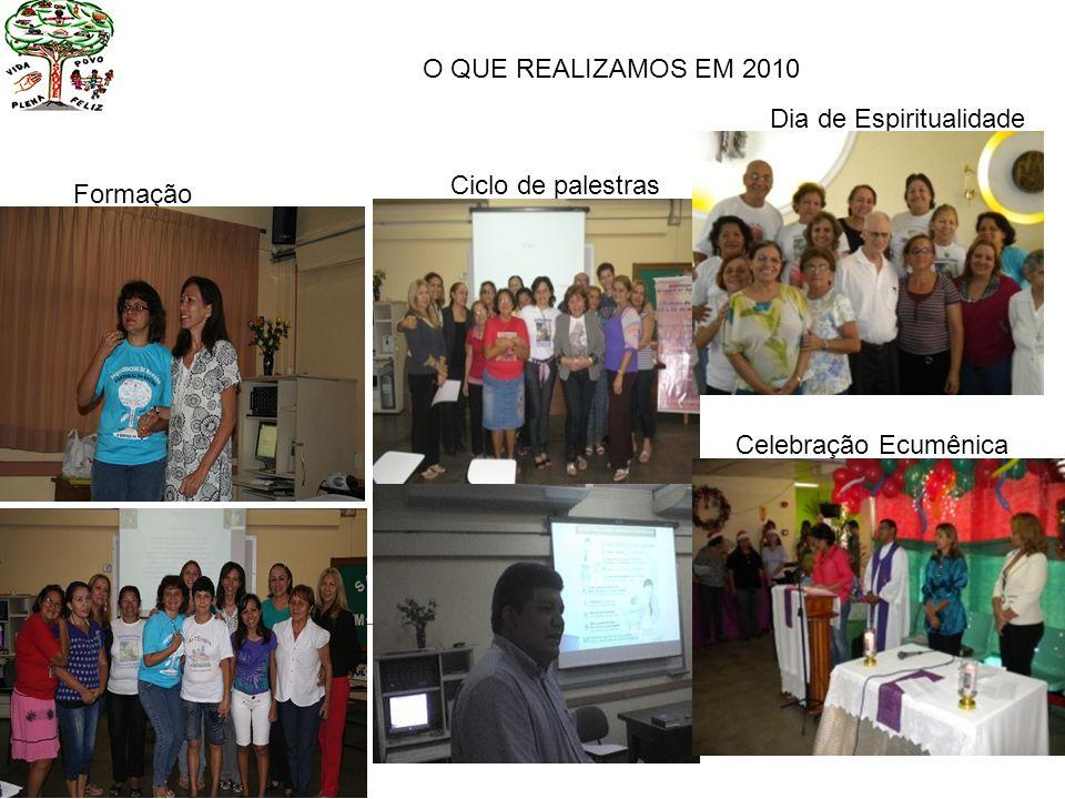 O QUE REALIZAMOS EM 2010 Dia de Espiritualidade Ciclo de palestras Formação Celebração Ecumênica