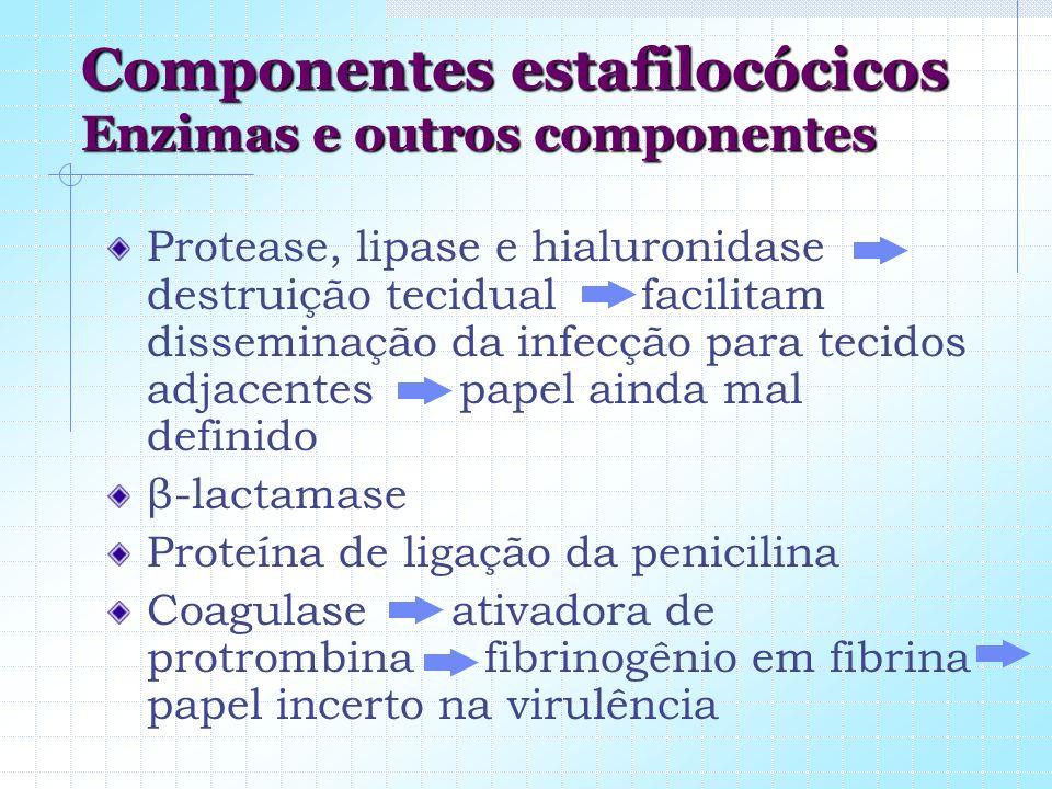 Componentes estafilocócicos Enzimas e outros componentes