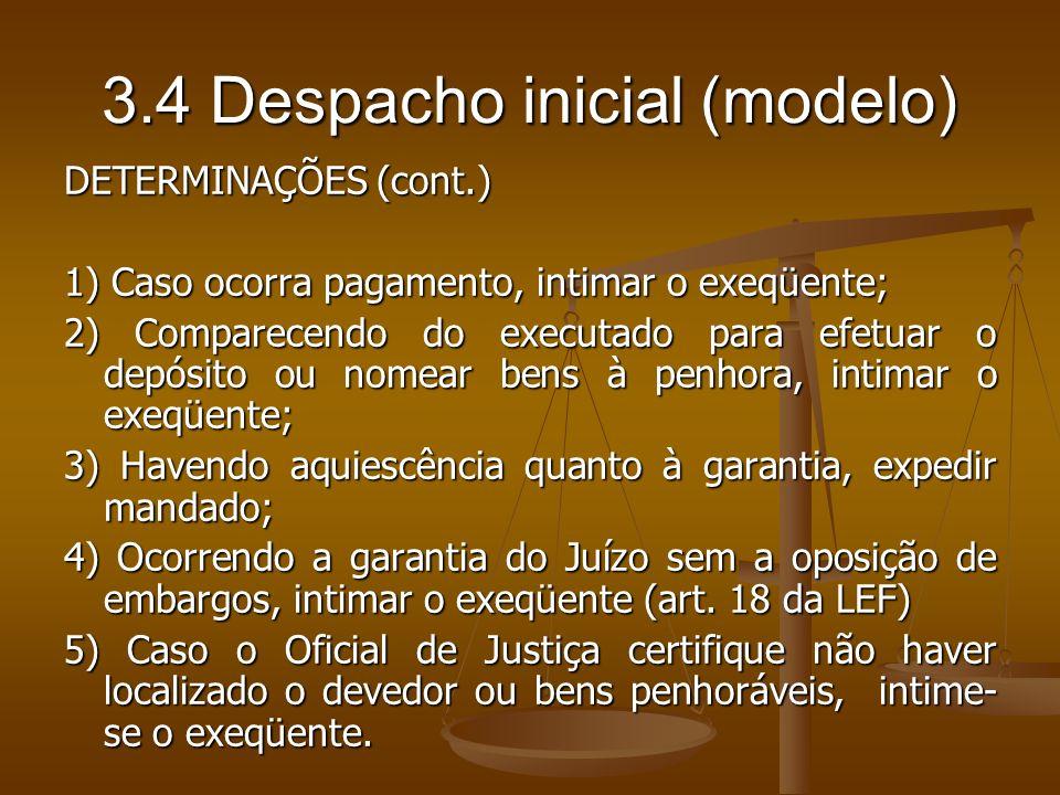 3.4 Despacho inicial (modelo)