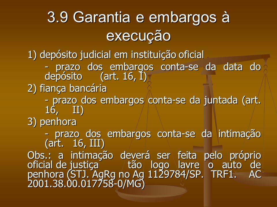 3.9 Garantia e embargos à execução