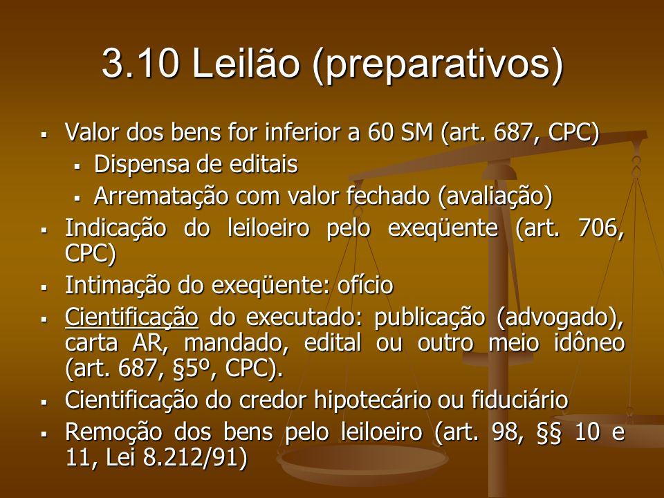 3.10 Leilão (preparativos)