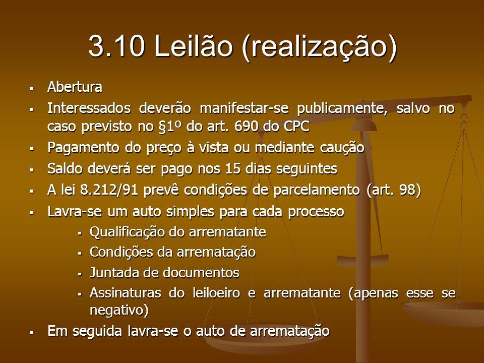 3.10 Leilão (realização) Abertura