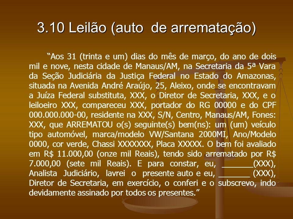 3.10 Leilão (auto de arrematação)