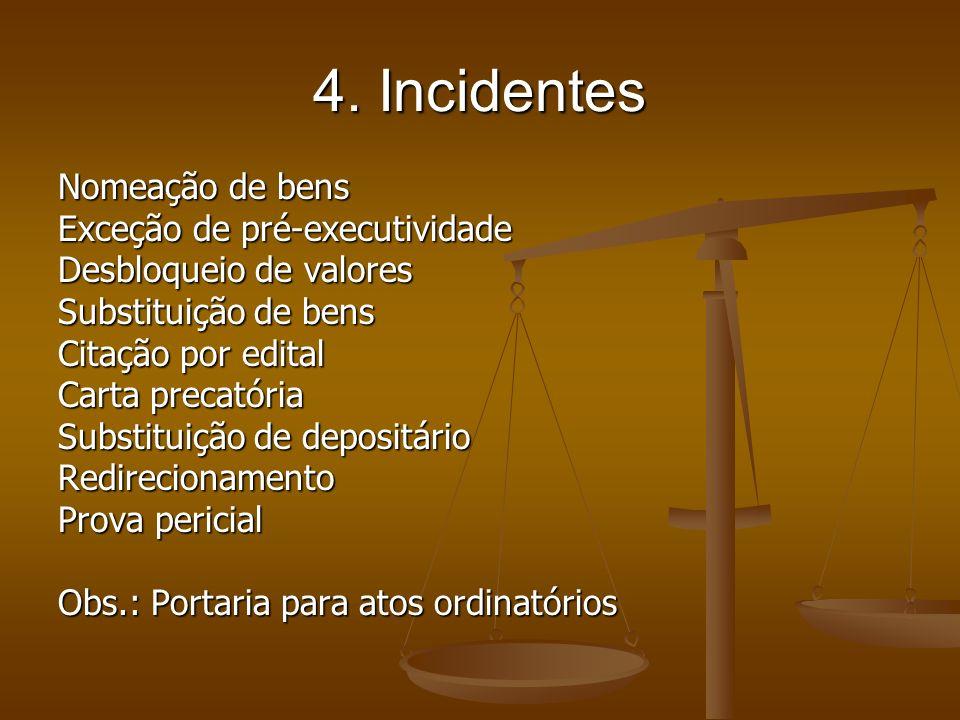 4. Incidentes Nomeação de bens Exceção de pré-executividade