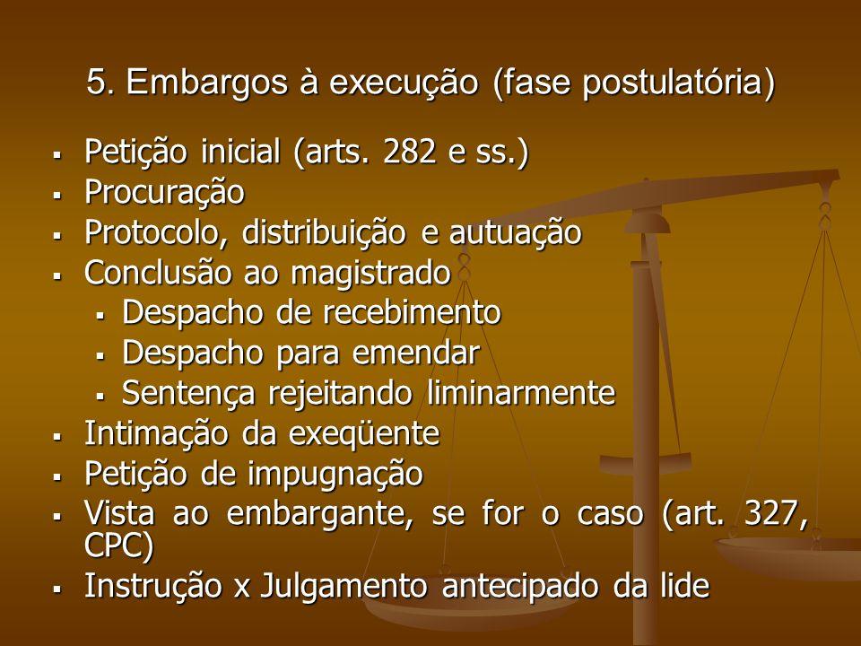 5. Embargos à execução (fase postulatória)