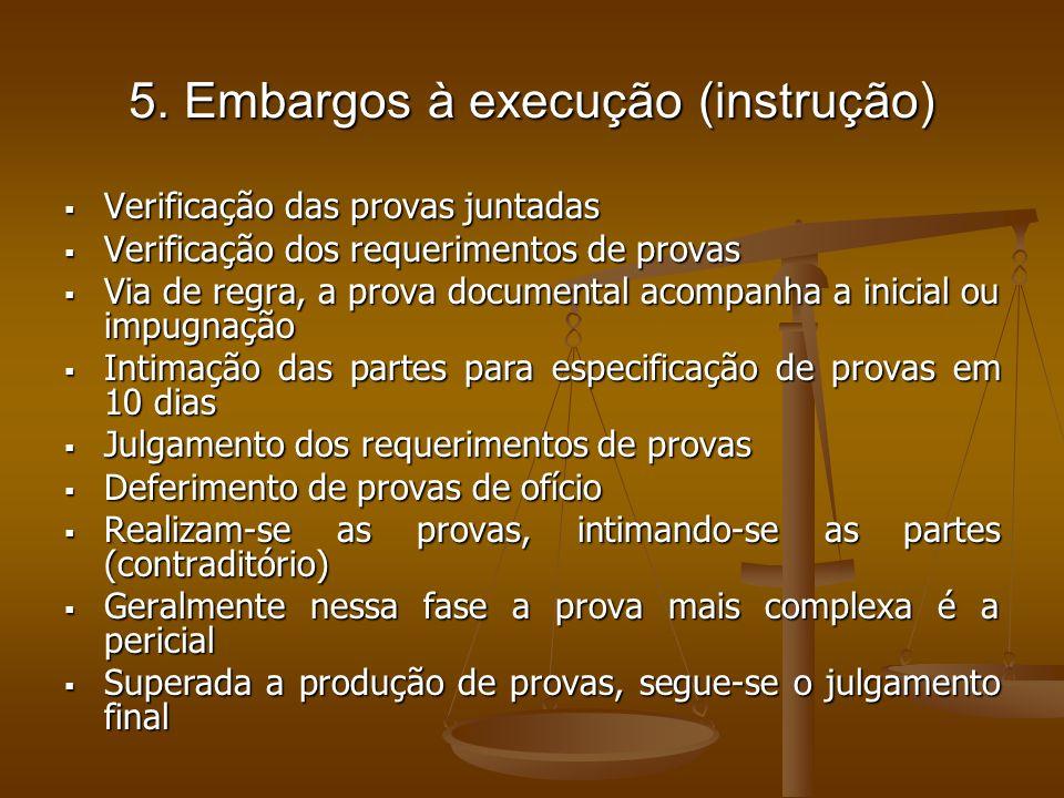 5. Embargos à execução (instrução)