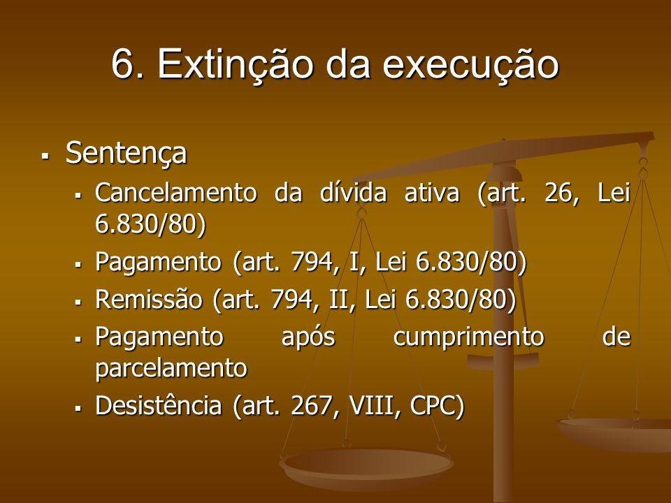 6. Extinção da execução Sentença
