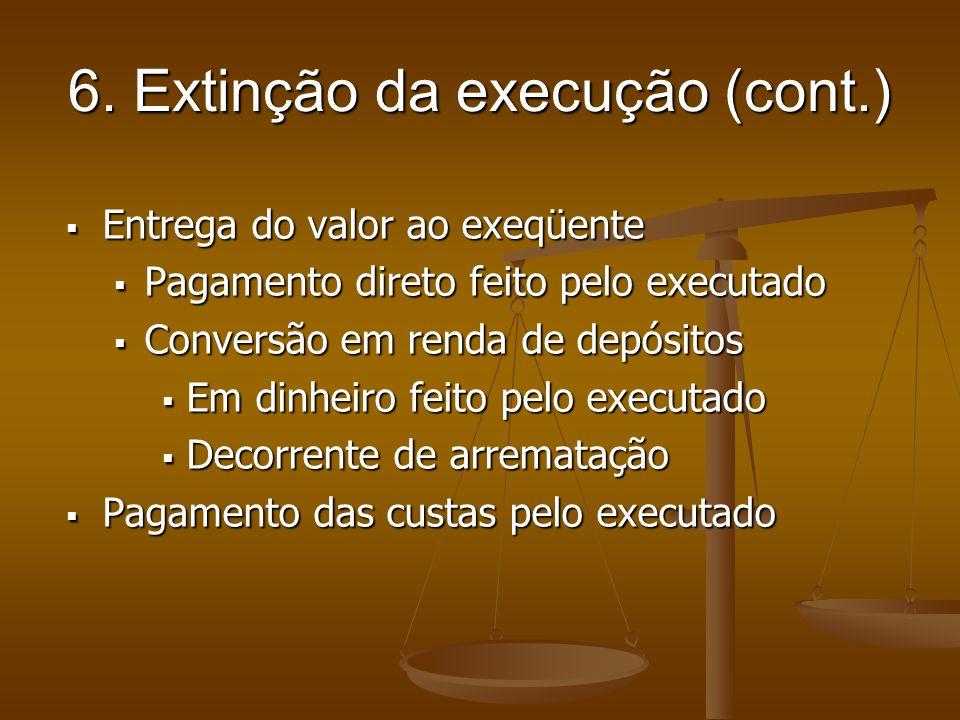 6. Extinção da execução (cont.)