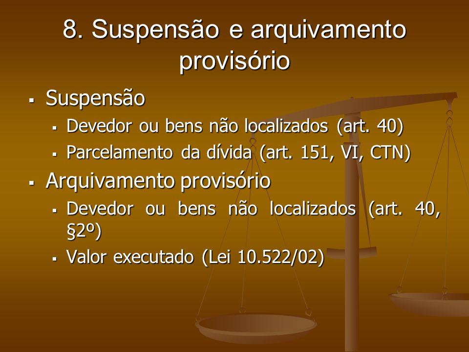 8. Suspensão e arquivamento provisório