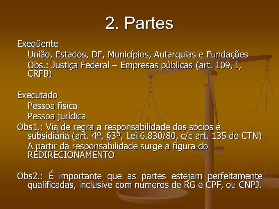 2. PartesExeqüente. União, Estados, DF, Municípios, Autarquias e Fundações. Obs.: Justiça Federal – Empresas públicas (art. 109, I, CRFB)