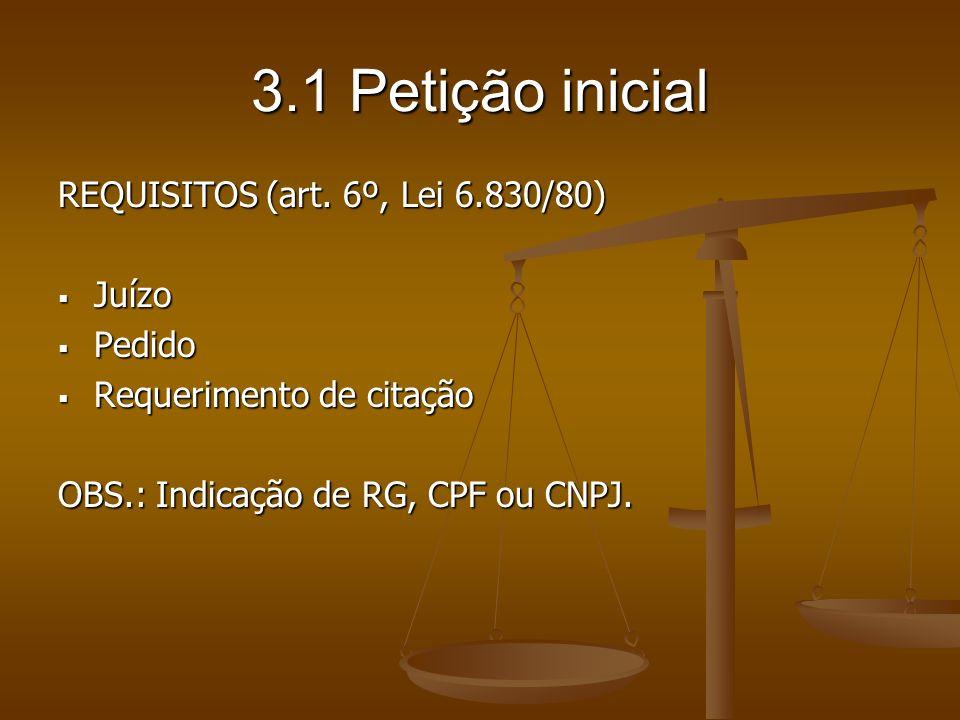 3.1 Petição inicial REQUISITOS (art. 6º, Lei 6.830/80) Juízo Pedido