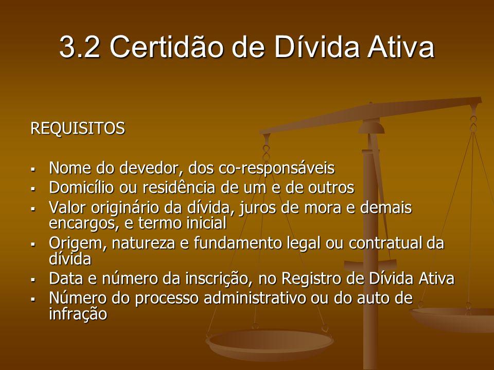 3.2 Certidão de Dívida Ativa