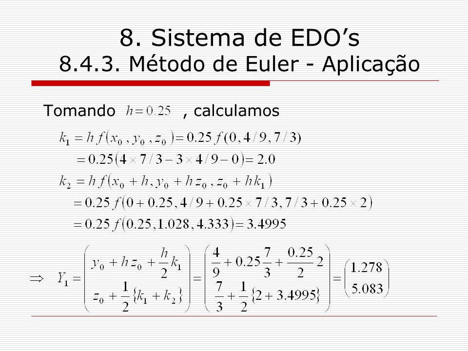 8. Sistema de EDO's 8.4.3. Método de Euler - Aplicação
