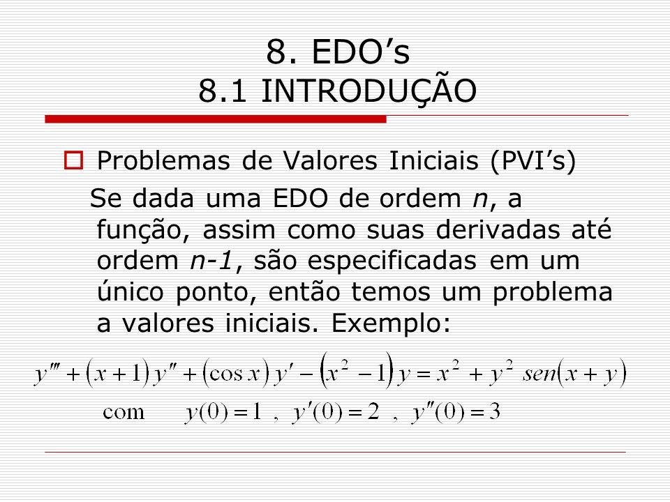 8. EDO's 8.1 INTRODUÇÃO Problemas de Valores Iniciais (PVI's)