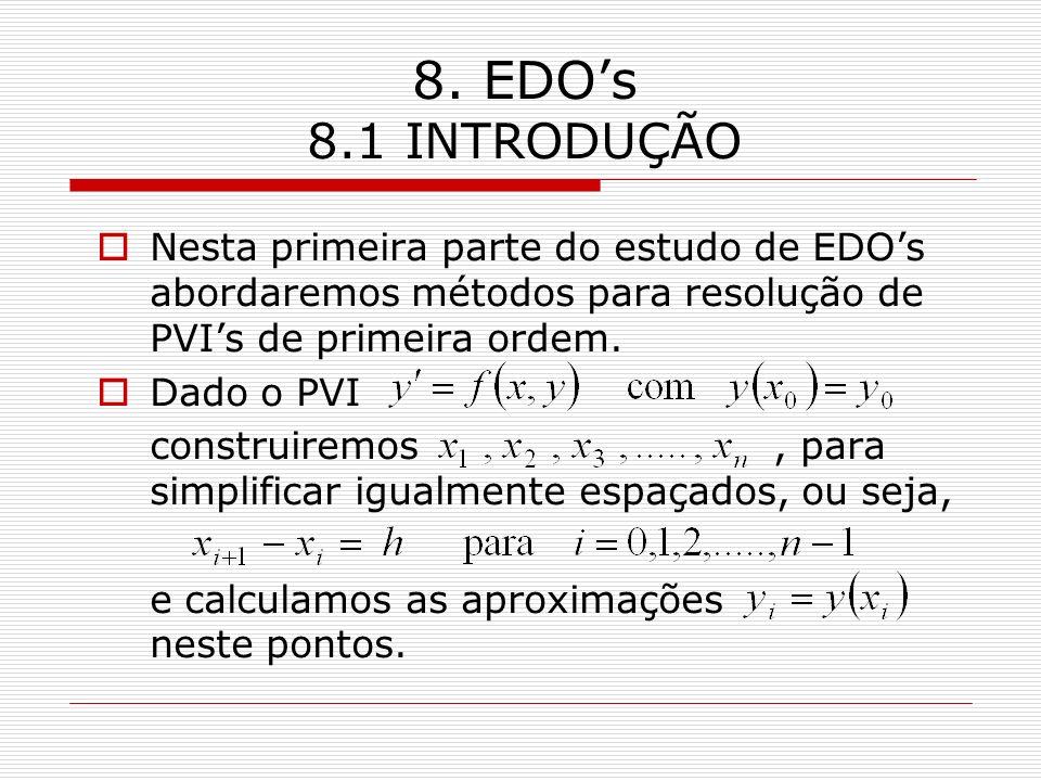 8. EDO's 8.1 INTRODUÇÃO Nesta primeira parte do estudo de EDO's abordaremos métodos para resolução de PVI's de primeira ordem.