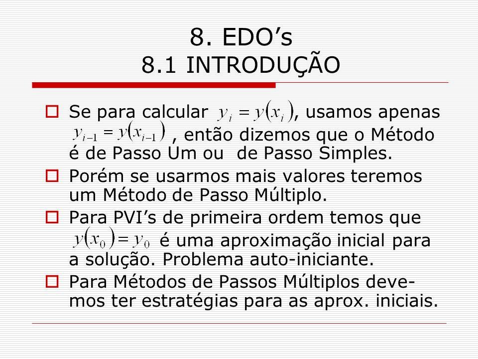 8. EDO's 8.1 INTRODUÇÃO Se para calcular , usamos apenas