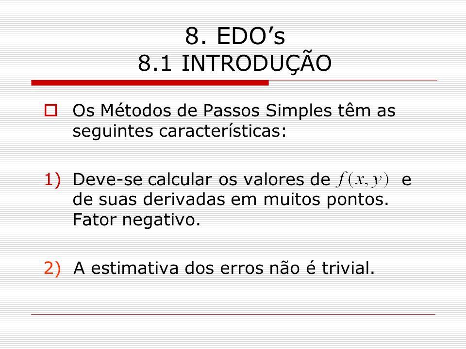 8. EDO's 8.1 INTRODUÇÃO Os Métodos de Passos Simples têm as seguintes características: