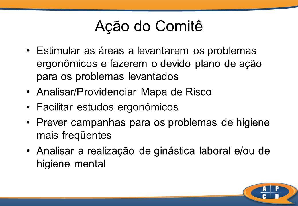 Ação do Comitê Estimular as áreas a levantarem os problemas ergonômicos e fazerem o devido plano de ação para os problemas levantados.