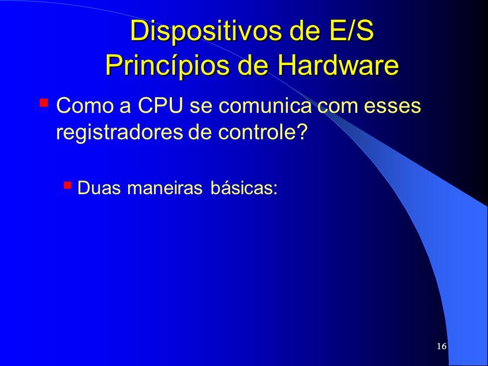 Dispositivos de E/S Princípios de Hardware