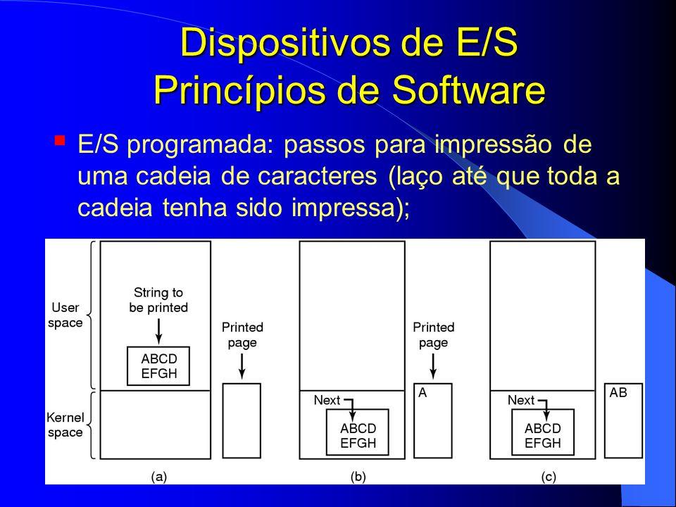 Dispositivos de E/S Princípios de Software
