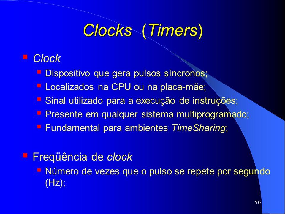 Clocks (Timers) Clock Freqüência de clock
