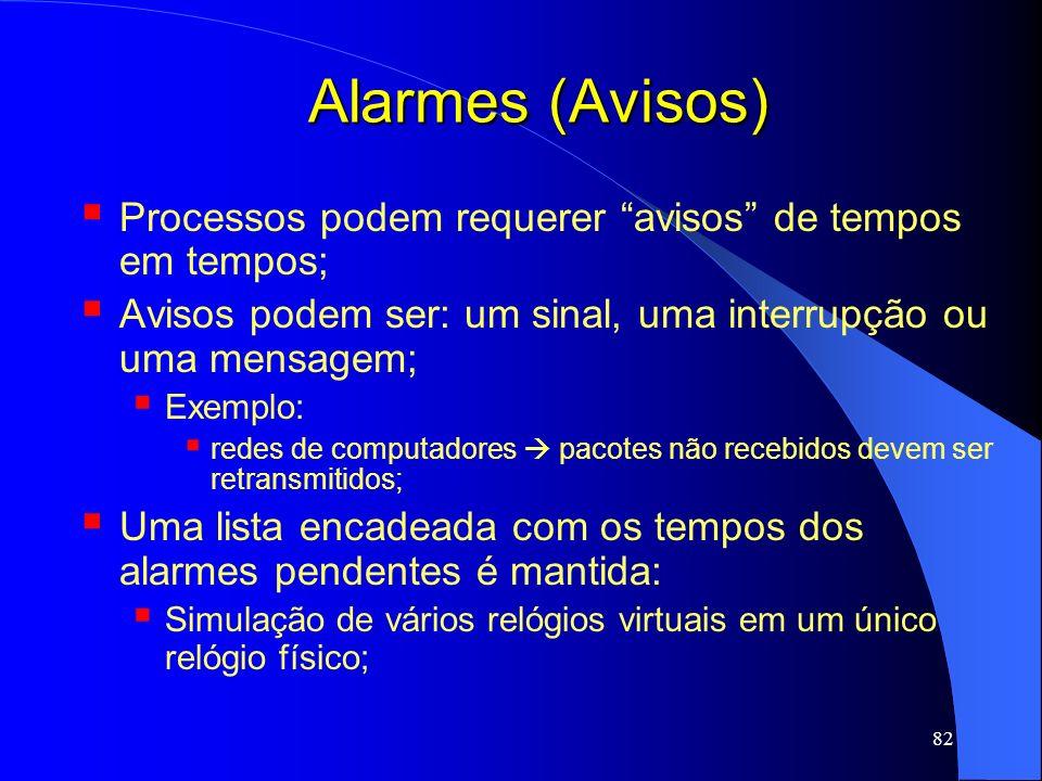 Alarmes (Avisos) Processos podem requerer avisos de tempos em tempos; Avisos podem ser: um sinal, uma interrupção ou uma mensagem;