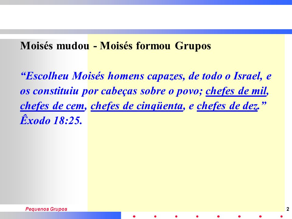 Moisés mudou - Moisés formou Grupos
