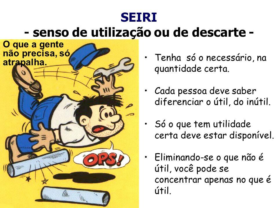 SEIRI - senso de utilização ou de descarte -