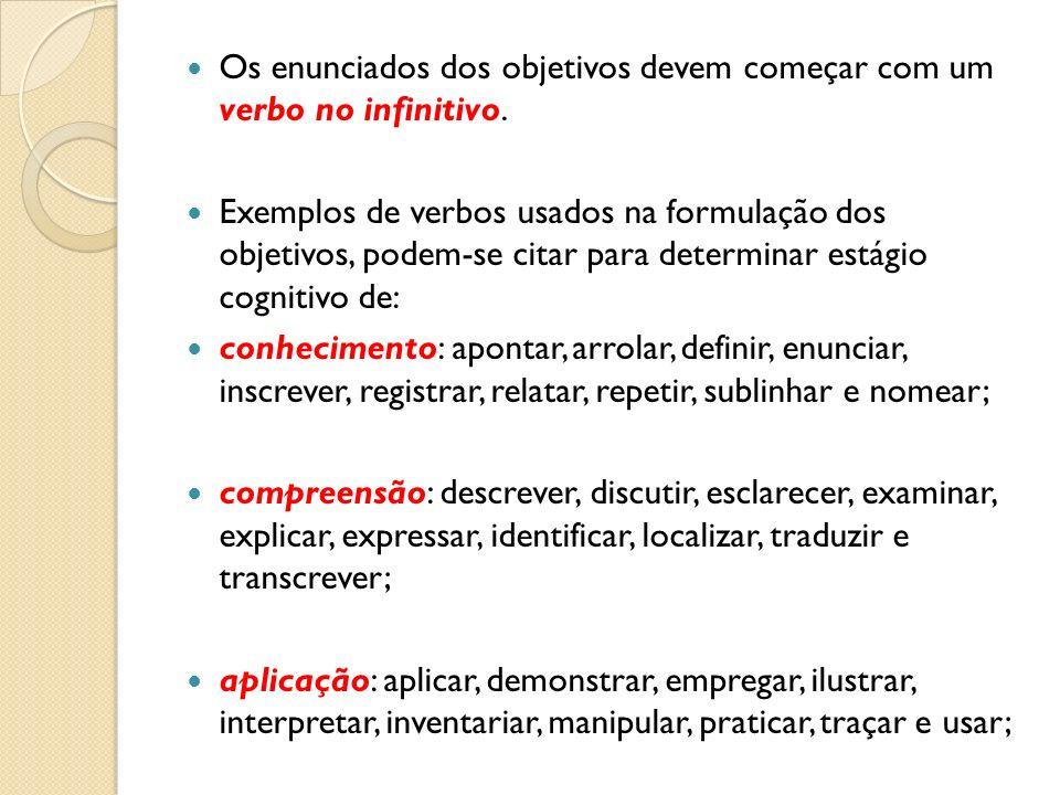 Os enunciados dos objetivos devem começar com um verbo no infinitivo.