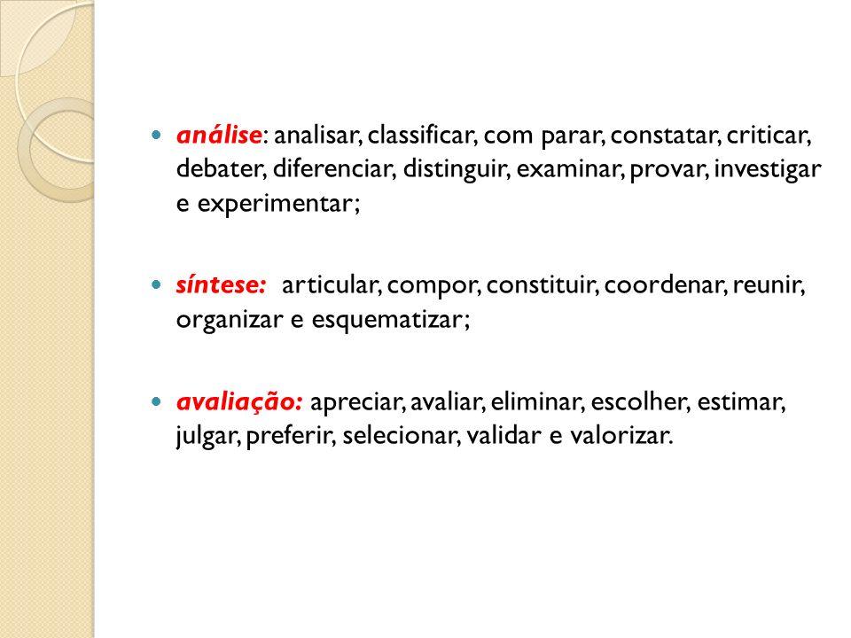 análise: analisar, classificar, com parar, constatar, criticar, debater, diferenciar, distinguir, examinar, provar, investigar e experimentar;