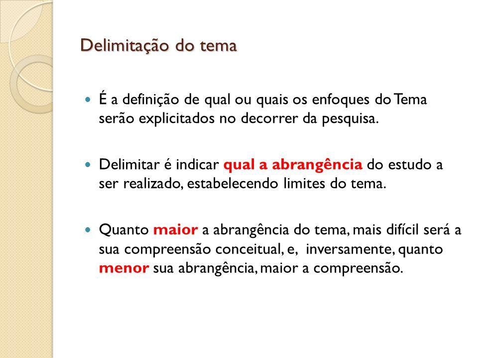 Delimitação do tema É a definição de qual ou quais os enfoques do Tema serão explicitados no decorrer da pesquisa.