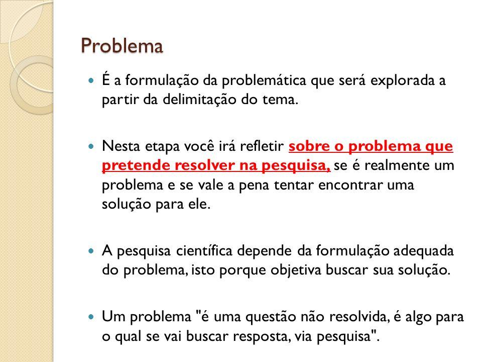 Problema É a formulação da problemática que será explorada a partir da delimitação do tema.