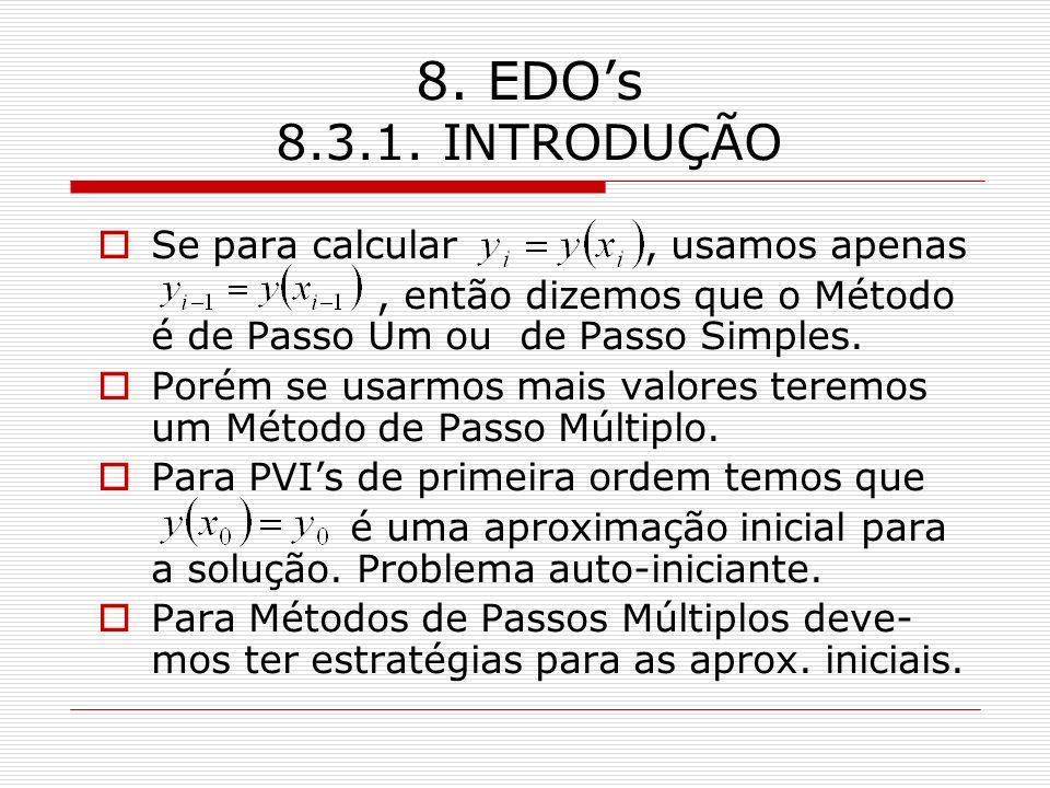 8. EDO's 8.3.1. INTRODUÇÃO Se para calcular , usamos apenas