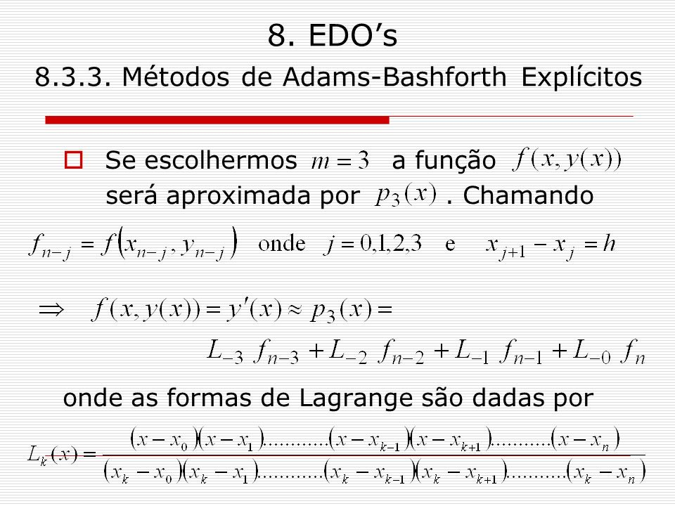8. EDO's 8.3.3. Métodos de Adams-Bashforth Explícitos