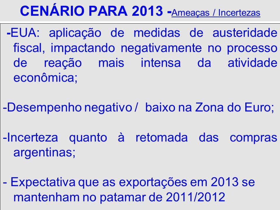 CENÁRIO PARA 2013 -Ameaças / Incertezas