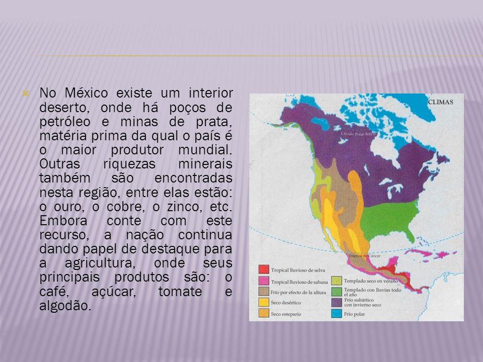 No México existe um interior deserto, onde há poços de petróleo e minas de prata, matéria prima da qual o país é o maior produtor mundial.