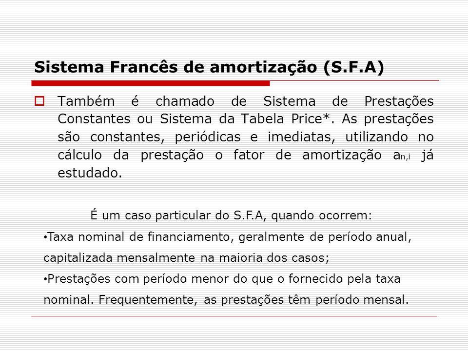 Sistema Francês de amortização (S.F.A)