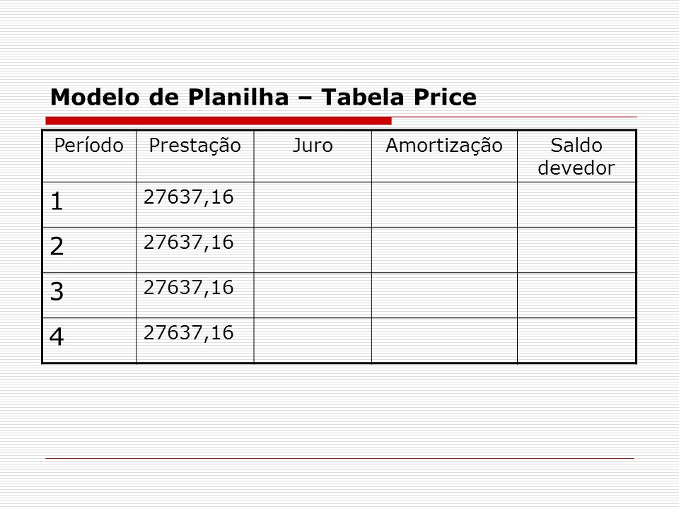 Modelo de Planilha – Tabela Price