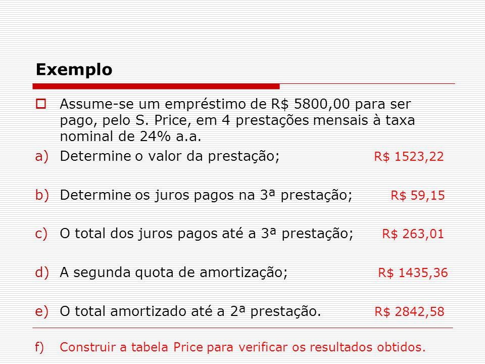 ExemploAssume-se um empréstimo de R$ 5800,00 para ser pago, pelo S. Price, em 4 prestações mensais à taxa nominal de 24% a.a.