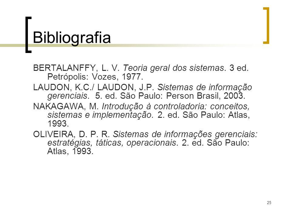 Bibliografia BERTALANFFY, L. V. Teoria geral dos sistemas. 3 ed. Petrópolis: Vozes, 1977.